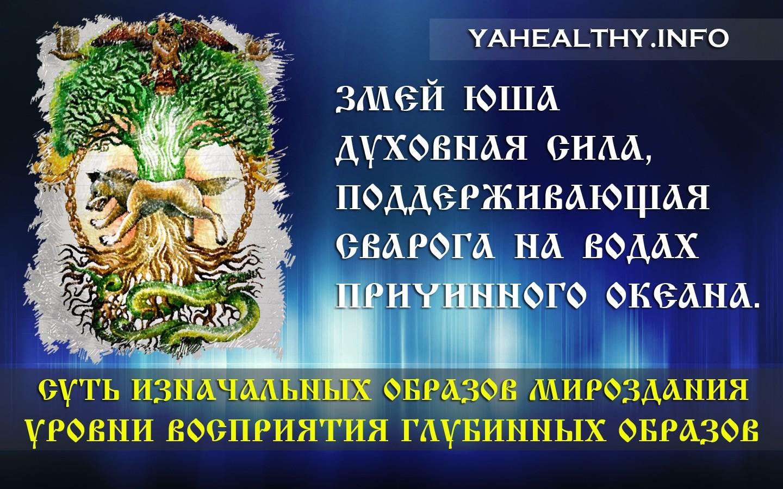 Змей Юша – Божественная энергия, духовная сила, поддерживающая Сварога на водах причинного океана.